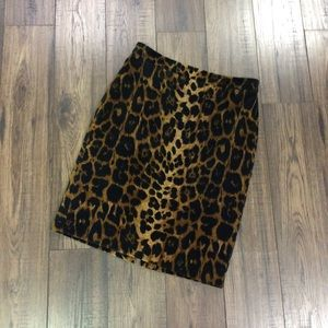 Talbots Skirts - Talbots Leopard Print Faux Suede Pencil Skirt